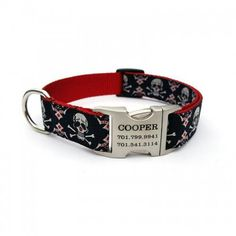 Tribal Skulls Designer Dog Collar With Personalized Buckle