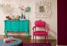 beautiful colored furniture and decor