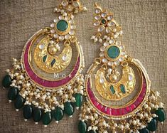 New Bridal Earrings Indian India Jewelry Ideas Indian Jewelry Earrings, Indian Wedding Jewelry, Jewelry Design Earrings, Gold Earrings Designs, India Jewelry, Bridal Earrings, Bridal Jewelry, Jewelery, Gold Jewellery