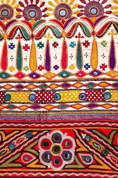 Indian Textile - Gujarat - colorful embroidery with mirror work