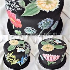 Hand painted birthday cakec with assorted flowers