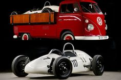 Own a rare piece of German racing history, the 1964 Volkswagen Pick-up With Porsche Formula V. Both vehicles have been completely and carefully restored, making. Vw Cars, Porsche Cars, Volkswagen Bus, Vw T1, Vintage Vans, Vintage Racing, Transporter, Thing 1, Car Humor