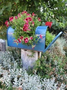 Gardening With Containers DIY Mailbox planter ! - Make a Garden Planter From a Mailbox! - When driving with a friend past her bank of mailboxes, we turned to see a workman replacing an OLD with a NEW mailbox fo Mailbox Planter, Diy Mailbox, Mailbox Garden, Vintage Garden Decor, Vintage Gardening, Organic Gardening, Vegetable Gardening, Garden Crafts, Garden Projects