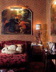 Studio Peregalli lifts the curtain on a legendary, long-gone Second Empire– style apartment in Milan, seen here for the first time in all its trompe l'oeil glory. #milanapartments #maximalistinteriors #luxuriousinteriors #elledecor Milan Apartment, Second Empire, Empire Style, Elle Decor, Studio, Interior, House, Painting, Design