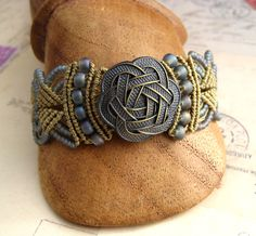 Celtic Knot Beaded Macrame Bracelet Silver Blue by KnotJustMacrame