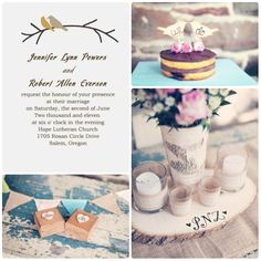 romantic love birds rustic garden wedding inspirations and invitations