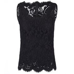 Dolce & Gabbana Black Cotton Floral Lace Blouse (1,495 CAD) ❤ liked on Polyvore featuring tops, blouses, sleeveless cotton blouse, lace blouses, floral lace top, lace tops and sleeveless tops