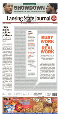 A photoless centerpiece. | Lansing State Journal for March 29, 2015 via Today's Front Pages - Newseum #newsdesign #newspaper