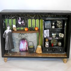 Witch's Parlor shadow box diorama by NacreousAlchemy