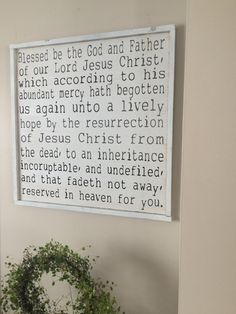 24x24 1 Peter 1:3-4 framed wood sign by SaltedWordsCompany on Etsy