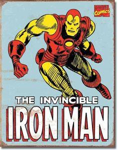 Iron Man Retro   Tin   Metal   Sign   Nostalgic   Vintage   Retro   The Invincible Iron Man   Marvel Comics   A Simpler Time