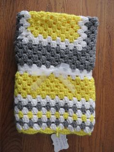 Yellow, Gray and White Granny Square Crochet Baby Blanket with Scalloped Edges, FREE SHIPPING