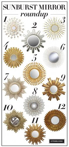 A roundup of chic and elegant sunburst mirrors that will suit any decor! Decorative Accessories, Decorative Items, Gold Sunburst Mirror, Orange Rooms, Mirror House, Diy Mirror, Wall Mirrors, Modern Interior Design, Decoration
