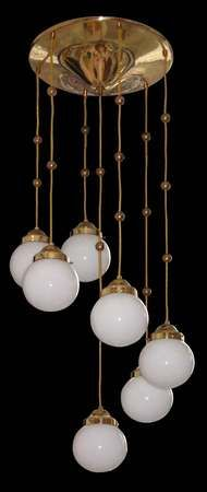 Vienna Secession hanging brass lamp with seven lights by Koloman Moser