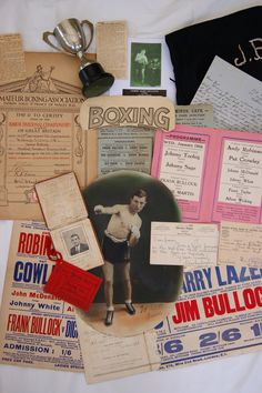 Some of Jimmy Bullock's boxing collection (boxing licence, letters, boxing shorts, programmes and awards)