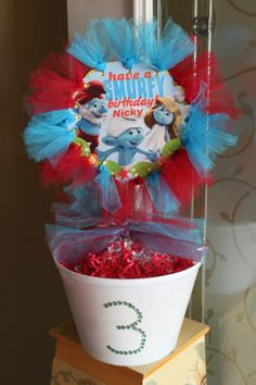 The Smurfs party centerpiece idea