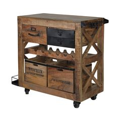 • Industrial look bar service trolley to place all your bar accessories • Reclaimed mango wood bar cart with wine rack, drawers and portable boxes • This bar cart can be easily used indoors and outdoors