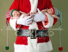 If you have newborn twins and a #Santa suit then this just might be the perfect picture to take.  #Christmas
