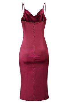 V Neck Spaghetti Straps Backless Midi Dress Ruby Bridesmaid Jewelry Sets, Spaghetti Straps, Backless, Bodycon Dress, Summer Dresses, Fashion, Moda, Body Con, Summer Sundresses