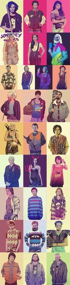 jon, rob, sansa (?), arya, robs wife (?), white walker, jorah, bronn, olenna, margery, cersei, ramsey, carl drogo, dany, stannis, tyrion, tywin, melisandre, bran (??), jaime, gentry, ygritte, joffrey, tormund, brienne, theon, hound, davos Grand Theft Auto: Westeros (Artist: Mike Wrobel)