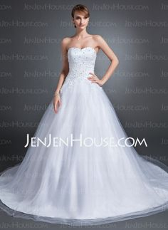 Wedding Dresses - $186.99 - Ball-Gown Sweetheart Chapel Train Tulle Wedding Dress With Lace Beadwork (002015154) http://jenjenhouse.com/Ball-Gown-Sweetheart-Chapel-Train-Tulle-Wedding-Dress-With-Lace-Beadwork-002015154-g15154