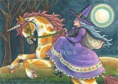 Art: HALLOWS EVE RIDE ON A PUMPKIN PINTO by Artist Susan Brack
