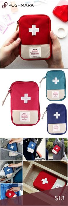 🆕️ personal emergency travel bag Canvas and nylon first aid style travel bags.   6in. X 4.25in.   Can be used for typical first aid products, feminine products, makeup, daily medicine, costume accessories or anything you desire. Perfect size for briefcases, camping, school  backpacks,  in the car, or even the smallest purse.  Listing includes one emergency bag. Available in three colors- see photo 2 ➖➖➖➖➖➖➖➖➖ ⚠️PRICE IS FIRM! 🚫No offers/trades/email/other apps! 💰Bundle for discount  ℹAny…