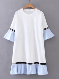 SheIn offers Bell Sleeve Contrast Ruffle Hem Dress & more to fit your fashionable needs. Source by Dresses Trendy Dresses, Simple Dresses, Nice Dresses, Casual Dresses, Dresses With Sleeves, Shift Dresses, Winter Dresses, Sleeve Dresses, Summer Dresses