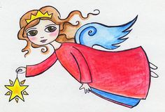 Apr 6th - A teeny tiny angel sketch with watercolour pencils - by Queenhare for the Design Every Day Project