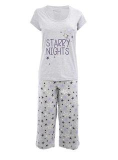 Grey Marl Starry Night Crop Pyjama - Women- BHS