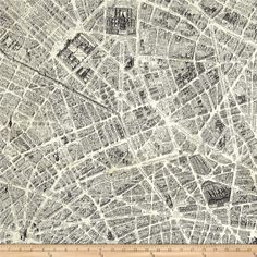 Destination Paris Map Multi from @fabricdotcom  Designed by Whistler Studios for Windham, this cotton print fabric explores the famous streets of Paris, all centering around the iconic Arc De Triomphe. Perfect for quilting, apparel and home decor accents. Colors include cream and shades of grey.