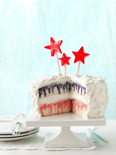 4th of July cake ... Could use only red and white / change stars for maple leaves on Canada Day.