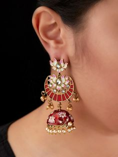Engagement & Wedding Hospitable Traditional Designer Goldtone Cz Stone Jhumka Earring Women Party Jewellery