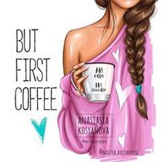 "Anastasia Kosyanova ""But first coffee💕☕️ collection"" Disney Collection, Fall Collection, But First Coffee, I Love Coffee, Modelos Fashion, Cute Girl Drawing, Girly Drawings, Art Anime, Fashion Sketches"