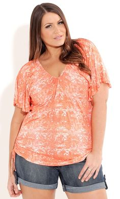 Plus Size Coral Python Top - City Chic - City Chic