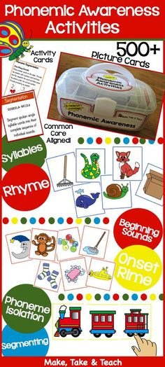 Activities for rhyme, beginning sounds, segmenting and more! Over 500 colorful picture cards, activity cards and common core alignment cards!