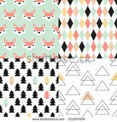 Seamless soft pastel geometric christmas tree triangle and fox illustration background set collection pattern in vector
