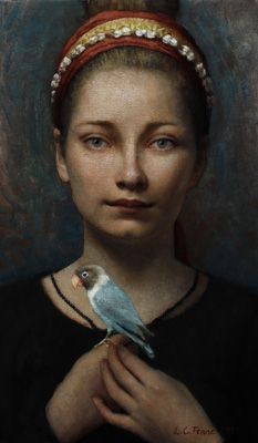 Christine with Lovebird no. 2 by Louise C. Fenne
