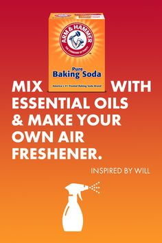 """With a few drops of essential oils, ARM & HAMMER™ Baking Soda and water, you can make your own air freshener in minutes. Household Cleaning Tips, Homemade Cleaning Products, Cleaning Recipes, House Cleaning Tips, Natural Cleaning Products, Essential Oil Scents, Essential Oil Perfume, Gifts For Office, Natural Cleaners"