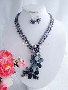 LK-2042 New Fashion 2014 Black Pearl Shell Flower Necklace Earring Set For African Wedding Party $43.26
