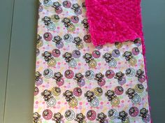 Monkey peace with pink rose small blanket for travel or in the stroller Small Blankets, Stroller Blanket, Snuggles, Monkey, Peace, Rose, How To Make, Pink, Baby