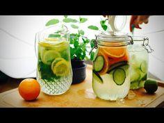 Τρία δροσιστικά αναψυκτικά χωρίς θερμίδες - Paxxi 1min C18 - YouTube Cocktails, Drinks, Cucumber, Smoothies, Detox, Mason Jars, Juice, Art Pieces, Frozen