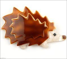 Lea Stein Figural Faux Tortoiseshell Hedgehog Porcupine Brooch Pin France Paris | eBay