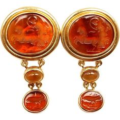 Pre-owned Elizabeth Locke 18K Yellow Gold Venetian Glass Intaglio... ($5,500) ❤ liked on Polyvore featuring jewelry, earrings, 18k earrings, 18 karat gold jewelry, citrine earrings, gold jewellery and sea glass jewelry