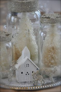 @Miranda Warren  what if we did mason jars with floating candles and we could swap the little chapel for a bird house?