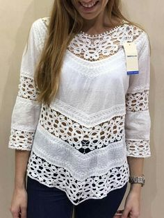 Diy Clothing, Blouse Designs, Sewing, My Style, Crochet, Lace, Womens Fashion, How To Wear, Blouses