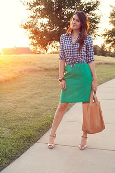 Colorblock! Green skirt + blue check/ gingham.