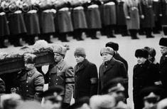 Funeral of Konstantin Chernenko March 13, 1985. Leaders of the party and government are following the coffin, the first are Mikhail Gorbachev and Andrei Gromyko.