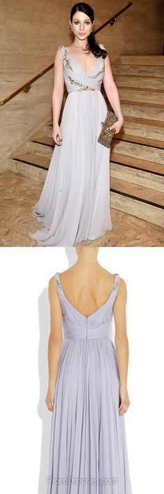 Lace Prom Dresses Long, Grey Prom Dresses For Teens 2018, V-neck Formal Party Dresses Chiffon with Appliques, Modest Evening Pageant Dresses Cheap