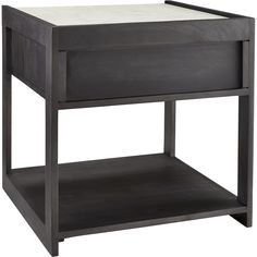 Shop tux marble top nightstand.   White Banswara marble contrasts dark mango wood in top form as nightstand or side table.  Single drawer with minimal cutout pull and open bottom shelf provide essential storage.